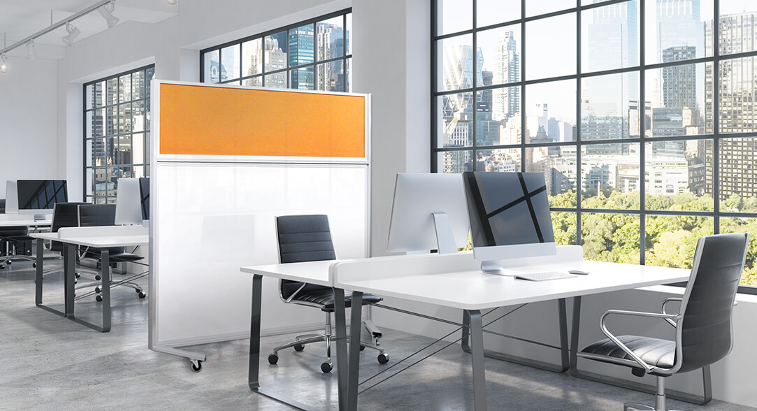 Movable Partition Wall: Series 750F in White Porcelain and Coloured Cork #2211 Tangerine Zest
