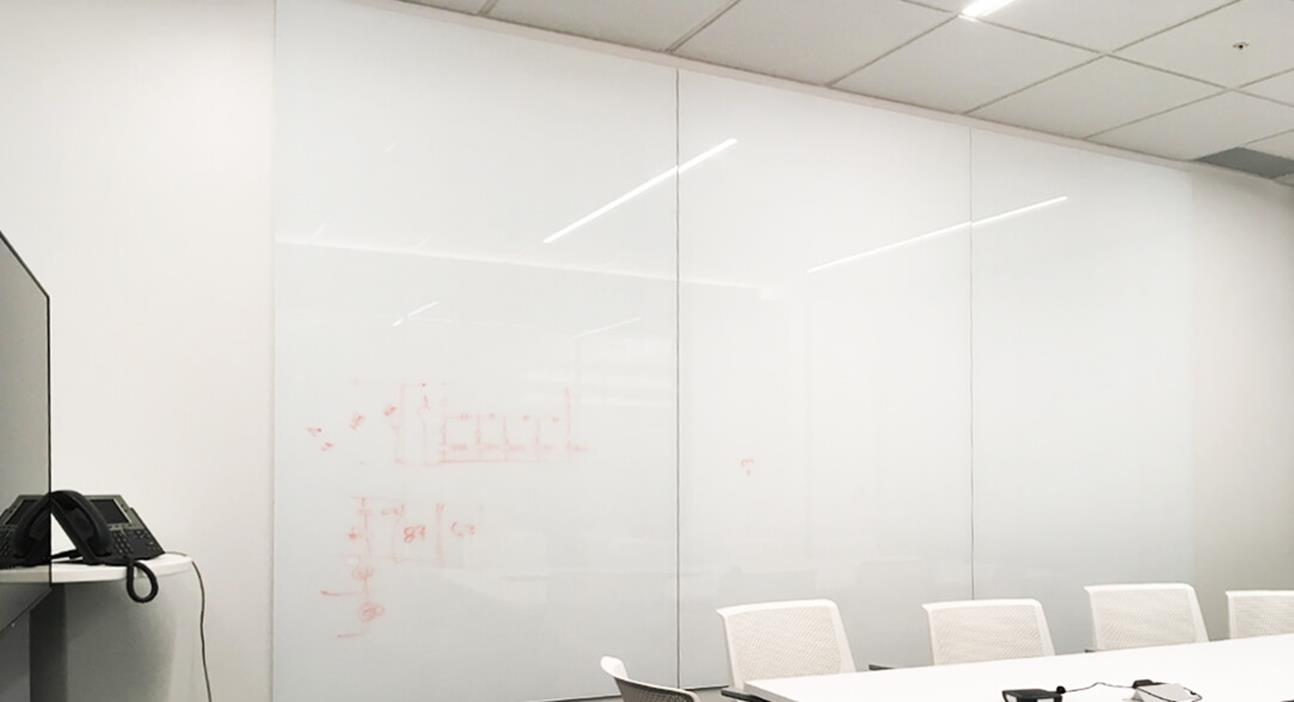 Wall Made of Magnetic Glassboards Back Painted White